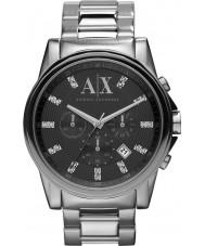 Armani Exchange AX2092 prata preto relógio de vestido cronógrafo dos homens