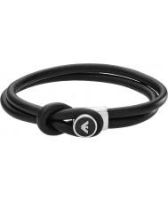 Emporio Armani EGS2212040 assinatura Mens pulseiras de couro preto