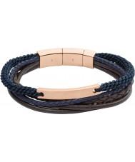 Fossil JF02379791 Casuais mens vintage marrom e azul marinho pulseira em camadas