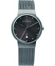 Skagen 355SMM1 Ladies Klassik carvão relógio de malha de aço