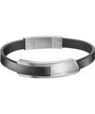 Calvin Klein KJ4MBB090100 Mens esbarrar pulseira de couro preto