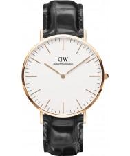 Daniel Wellington DW00100014 Mens clássico de leitura 40 milímetros de couro preto pulseira de relógio