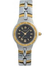 Krug-Baumen 2616DL Regatta mostrador preto pulseira de dois tons 4 diamantes