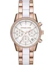 Michael Kors MK6324 Ladies Ritz rosa e relógio cronógrafo branco