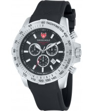 Swiss Eagle SE-9065-01 Mens Herzog relógio cronógrafo preto