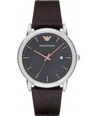 Emporio Armani AR1996 Mens vestido escuro de couro marrom pulseira de relógio