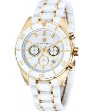Klaus Kobec KK-20005-02 Mens chronos banhado a ouro e relógio de cerâmica branca