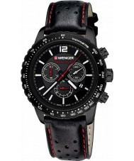 Wenger 01-0853-108 Mens roadster de couro preto relógio cronógrafo