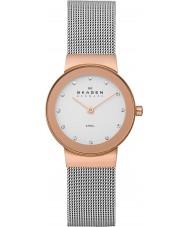 Skagen 358SRSC Ladies klassik subiu relógio de ouro de malha de aço