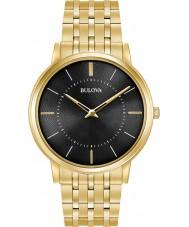 Bulova 97A127 Mens ouro ultra fino banhado a pulseira relógio