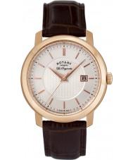 Rotary GS90093-06 Mens les originales relógio de couro marrom