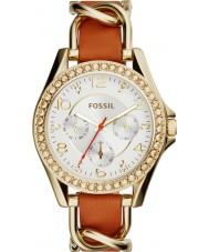 Fossil ES3723 Ladies riley tan relógio com pulseira de couro