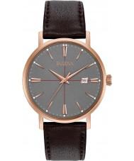 Bulova 97B154 Mens Aerojet escura de couro marrom pulseira de relógio