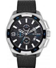 Diesel DZ4392 Mens pesado cronógrafo relógio de couro preto