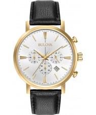 Bulova 97B155 Mens Aerojet ouro relógio cronógrafo preto