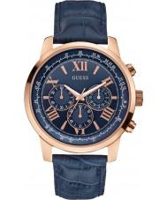 Guess W0380G5 horizonte dos homens de couro azul relógio cronógrafo
