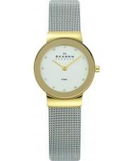 Skagen 358SGSCD Ladies Klassik relógio malha prata branca