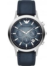 Emporio Armani AR2473 Dos homens azuis relógio clássico cronógrafo prata