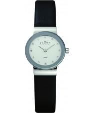 Skagen 358XSSLBC Ladies Klassik couro preto pulseira de relógio