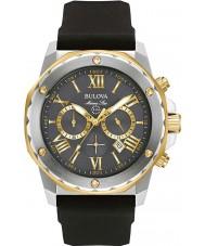 Bulova 98B277 Mens de aço estrela marinha de borracha preta pulseira de relógio
