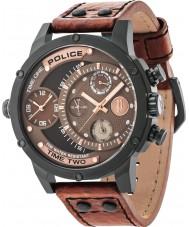 Police 14536JSB-12A Mens víbora de couro marrom relógio de pulseira