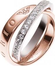 Emporio Armani EG3123221-8 assinatura das senhoras anel de dois tons - tamanho p