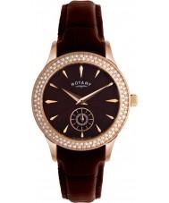 Rotary LS02907-16 Senhoras Relógios cristais marrom mostrador e pulseira de couro relógio