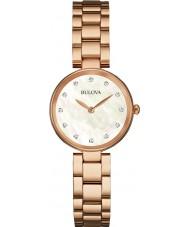 Bulova 97S111 Ladies diamante rosa banhado a ouro pulseira relógio