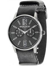 Police 14766JSU-61 Mens Esquire x couro cinza relógio de pulseira