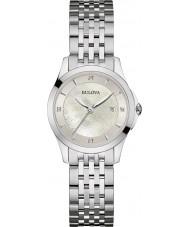 Bulova 96S160 Galeria de diamante feminino prata pulseira de relógio