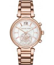 Michael Kors MK6282 Ladies Sawyer conjunto de pedra rosa banhado a ouro relógio cronógrafo