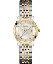 Bulova 98S148 Ladies diamante dois tons pulseira de aço relógio