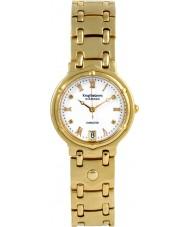 Krug-Baumen 5116DM Charleston 4 de diamantes pulseira de ouro mostrador branco