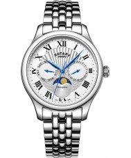 Rotary GB05065-01 relógios Mens moonphase prata cronógrafo relógio