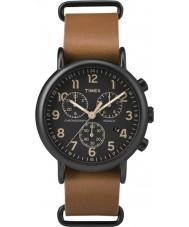 Timex TW2P97500 relógio de couro cronógrafo tan Weekender