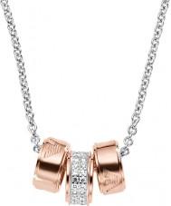 Emporio Armani EG3045040 assinatura das senhoras subiu colar de ouro com cadeia de rolo de prata