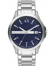 Armani Exchange AX2132 azul de prata relógio de vestido pulseira dos homens