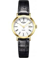 Rotary LS05303-01 Senhoras relógios Windsor banhado a ouro pulseira de relógio de couro preto