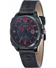 AVI-8 AV-4039-04 caçador do vendedor ambulante Mens couro preto relógio pulseira