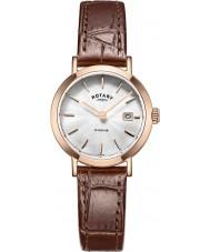 Rotary LS05304-02 Senhoras relógios Windsor rosa banhado a ouro de couro marrom pulseira de relógio
