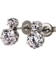 Edblad 31630124 Ladies coroa brincos de prata aço duplas