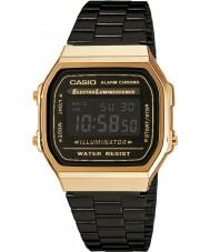Casio A168WEGB-1BEF coleção dos homens de aço preto pulseira de relógio