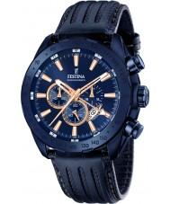 Festina F16898-1 prestígio dos homens de couro azul relógio cronógrafo
