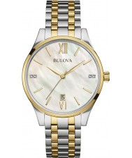 Bulova 98S149 Ladies diamante dois tons pulseira de aço relógio