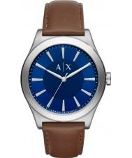 Armani Exchange AX2324 vestido de couro marrom escuro relógio de pulseira dos homens