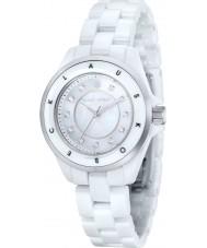 Klaus Kobec KK-10004-01 aço Ladies luna e relógio de cerâmica branca