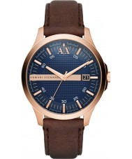 Armani Exchange AX2172 Mens vestido escuro de couro marrom pulseira de relógio