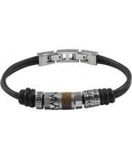 Fossil JF84196040 Mens pulseira de couro preto ocasional do vintage
