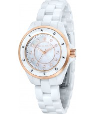 Klaus Kobec KK-10004-02 Senhoras luna rosa de ouro e relógio de cerâmica branca