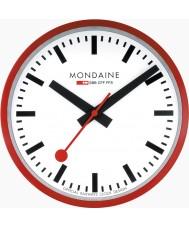 Mondaine A990-CLOCK-11SBC relógio de parede vermelha do metal